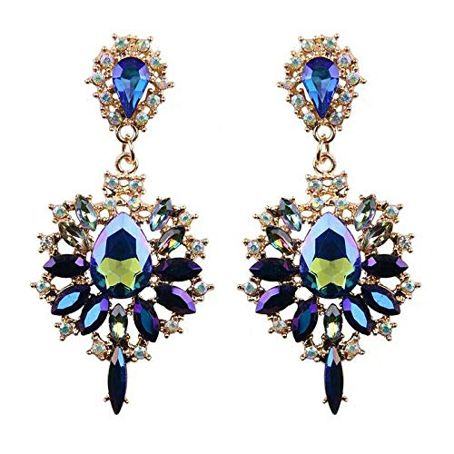 - Tanakorn Drop Earrings Colorful Flower Blue Design Luxury Starburst Pendant Crystal Stud Gem Statement Earrings Jewelry Gifts