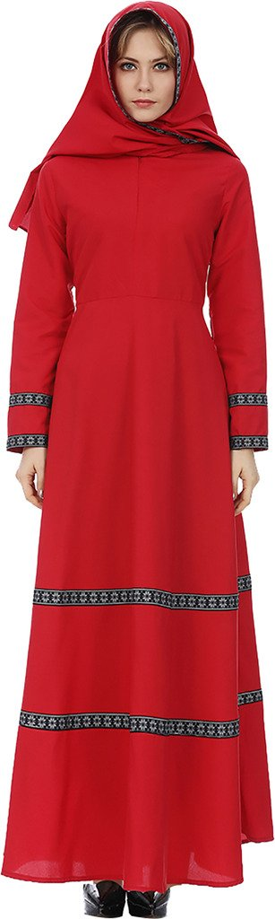 Ababalaya Women's Modest Muslim Islamic O-Neck Long Sleeve Long Maxi A-Line Abaya Dress ,Red,Tag Size XL = US Size 12-14