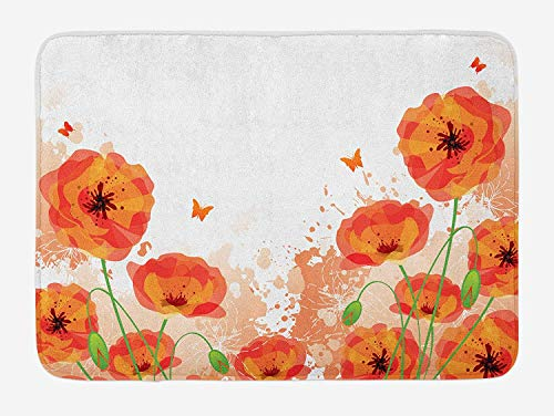 - Poppy Bath Mat, Digital Watercolors Design of Poppy Authentic Classic Botany Bouquet Patterns Print, Plush Bathroom Decor Mat with Non Slip Backing, 23.6 W X 15.7 W Inches, Red White