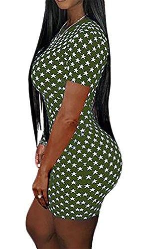 Star Sleeve Cromoncent Print Neck Womens Slim Pencil Mini Round Army Short Green Dress xfwI4qATw