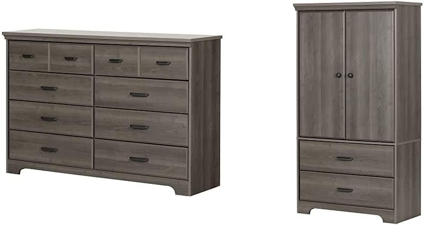 South Shore Versa Collection 8-Drawer Double Dresser, Ebony with Antique Handles, Gray Maple & 2-Door Armoire with Adjustable Shelves and Storage Drawers, Gray Maple