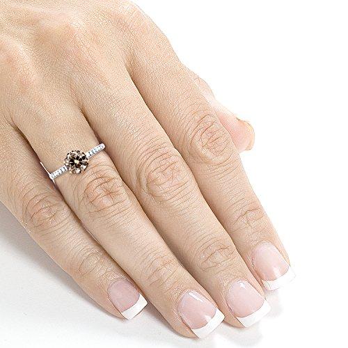 Champagne en diamant 11/8ND Outlet Bague en or blanc 18K Rose et _ _ _ _ 7,5