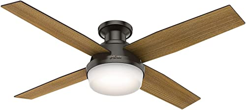 Hunter Dempsey Indoor Low Profile Ceiling Fan with LED light and Remote Control, 52 , New Bronze