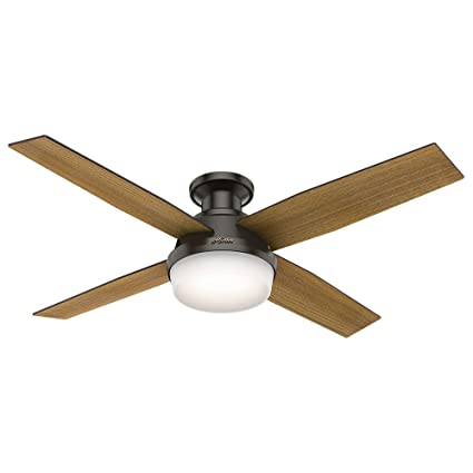 Hunter 59447 dempsey low profile with light 52 ceiling fan handheld hunter 59447 dempsey low profile with light 52quot ceiling fan handheld remote large aloadofball Images