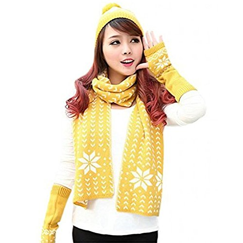 Vinaka Womens Chenille Snowflake Print Knit Hat Gloves and Scarf Winter Set (yellow) ()