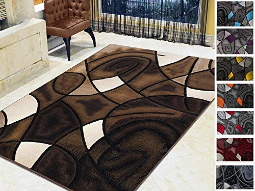 (Handcraft Rugs - Chocolate Brown/Beige/ Mocha/Black/ Abstract Area Rug Modern Contemporary Circles and Wave Design Pattern)