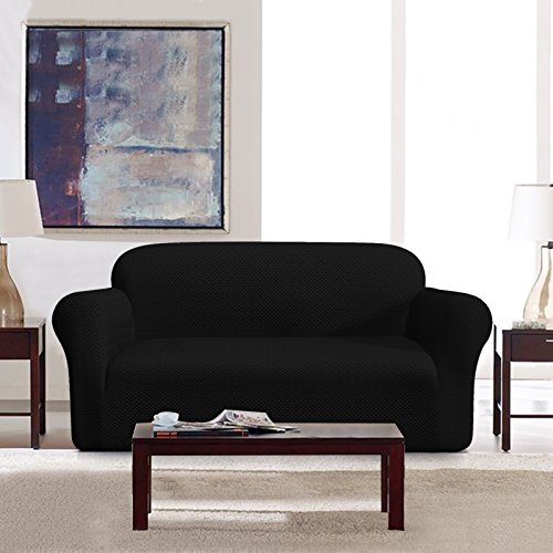 DyFun 1-Piece Jacquard Spandex Stretch Dining Room Sofa Slipcovers (Sofa, Black) - Slipcovered Sofa Set