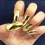 #9: BloomingBoom 24 Pcs 12 Size Full Cover False Fake Nail Artificial Metallic Mirror Effect Elegant Press on Chrome Stiletto Long Salon Design Claw Almond Oval Gold Blonde