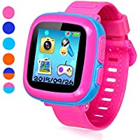"""Game Smart Watch for Kids, Children's Camera 1.5 """"Touch Screen Pedometer 10 Games Timer Alarm Clock Health Monitor Boys Girls Game Watches(Joint Pink&Blue)"""