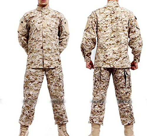 Noga Camouflage Suit Combat Bdu Uniform Military Uniform Bdu Hunting Suit Wargame Paintball Coat+pants (DESERT CAMO, M)