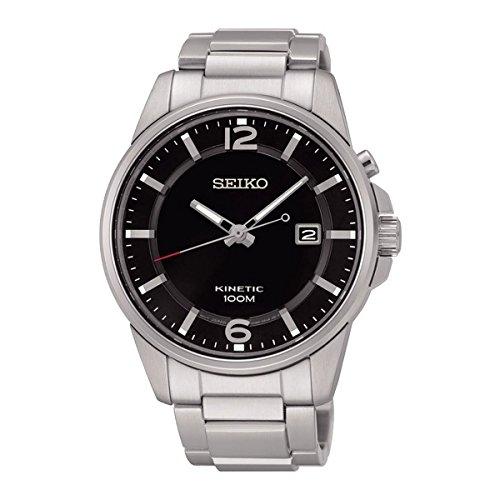 Seiko Kinetic Black Dial SKA665P1 Men's Classic Automatic Sports (Mens Black Dial Kinetic Watch)