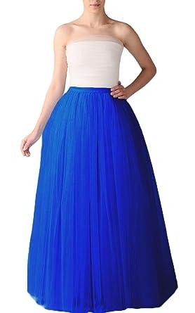 Bridal_Mall Womens Full Length/Midi Fluffy Tulle Half Slip Underskirt (Normal Size 6-