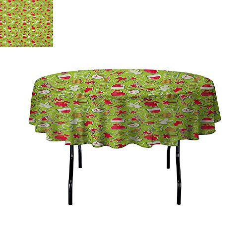 Douglas Hill Christmas Leakproof Polyester Tablecloth Merry Xmas Celebration Cartoon Style Ornaments Snowman Trees Birds Outdoor and Indoor use D55 Inch Apple Green Red and -