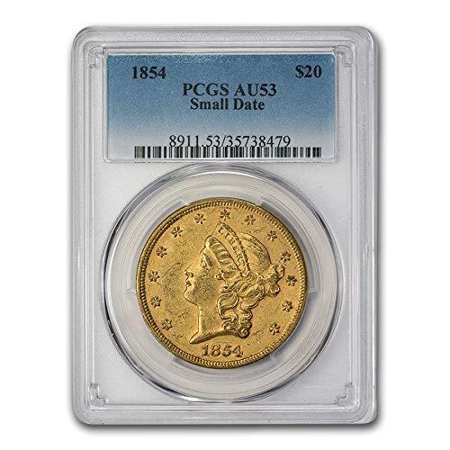 1854 $20 Liberty Gold Double Eagle AU-53 PCGS (Small Date) G$20 AU-53 PCGS