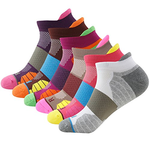 Women's Men's Breathable Ankle Socks Fashion Cotton Soft Warm Thick Cushioned Socks Left Right Socks for Runing Hiking Tennis Biking Cycling Getspor 6 Pairs Multicolor 7-13
