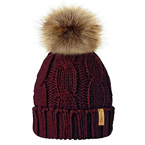 Fashion Women Chunky Soft Pompom Knitted Cap Winter Warm Crochet Fleece Lined Beanie Hat Detachable Ball Caps]()