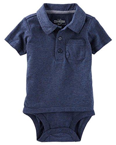 Polo Bodysuit - OshKosh B'Gosh Baby Boys' Short Sleeve Polo Bodysuit (0-3M, Navy/Double-Decker)