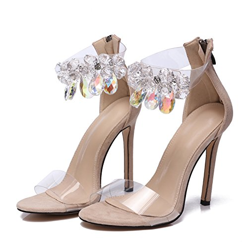 ZHUDJ Bastante Grande De Strass Diamantes Sandalias Sandalias Talla 42 Fashion Show Apricot
