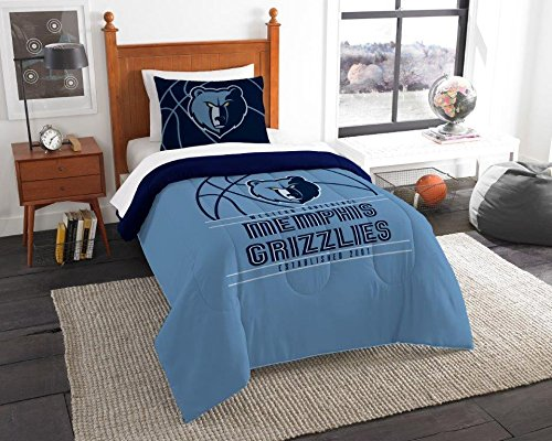 Memphis Grizzlies - 2 Piece Twin Size Printed Comforter Set - Entire Set Includes: 1 Twin Comforter (64