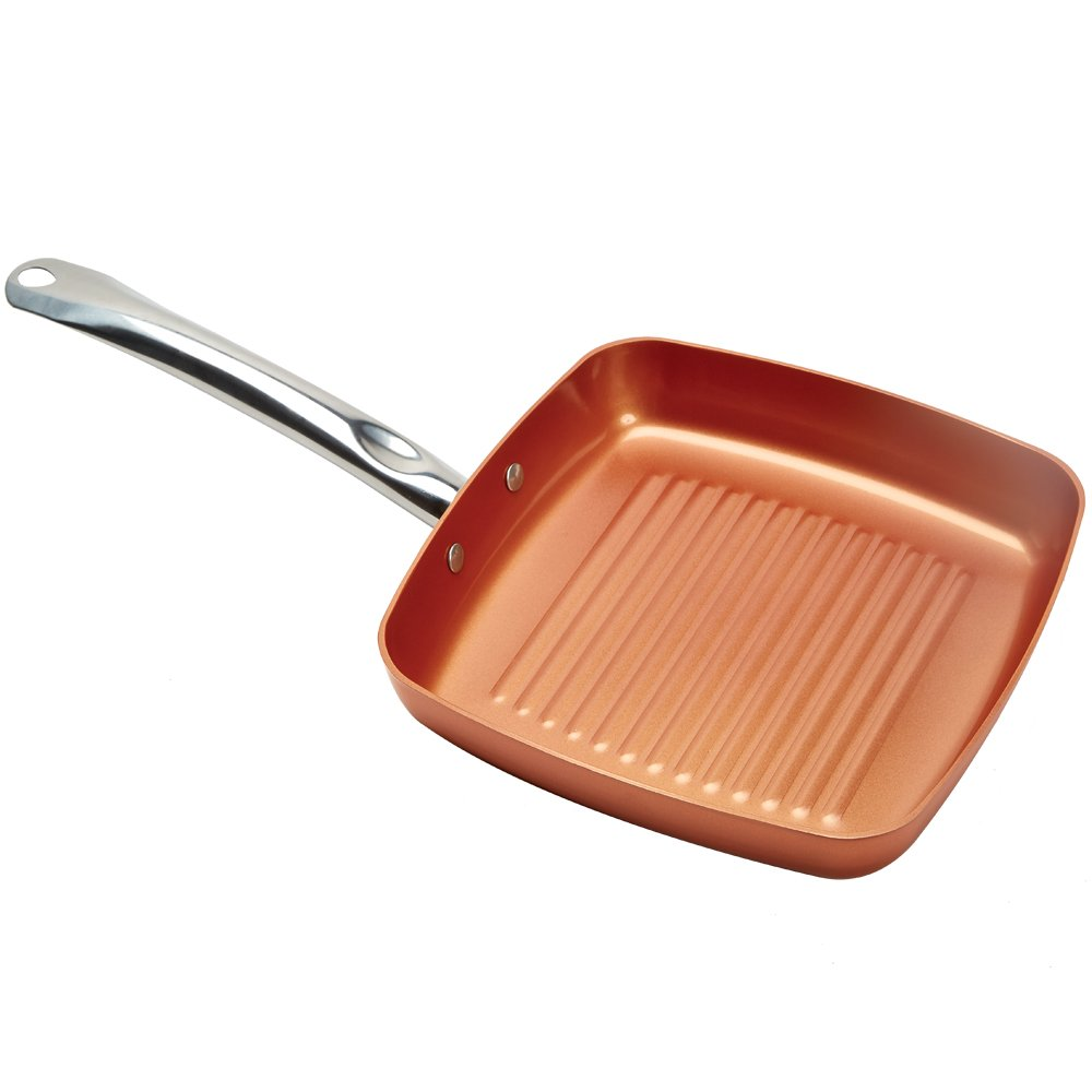 Copper Chef Square Grill Pan - 11 Inch skillet with Ceramic Non-Stick Coating.