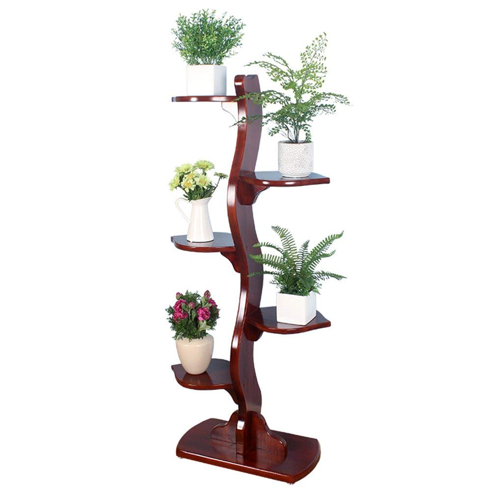 WI Flower Stand-Flower Rack Leaves Shape Floor Style Woody Anti-Corrosion Green Plants Flower Shelf Living Room Balcony Outdoor Potted Racks by WI
