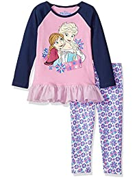 Disney Girls' 2 Piece Frozen Anna and Elsa Legging Set...