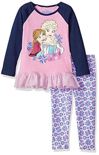 Disney Girls 2 Piece Frozen Anna and Elsa Legging Set with Chiffon Ruffle