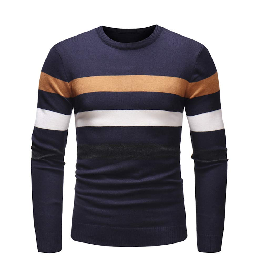 Dacawin Fashion Handsome Men's Long Sleeve Stripe Slim Sweater Pullover Jumper Knitwear Blouse