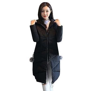 ad5efaef8a22 SUCES Damen Daunenjacke Elegant Winter kurz Jacke Parka Steppjacke  Einfarbig Kapuzenjacke Slim Hooded Outerwear Daunenmantel Schlank