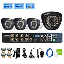 iSmart 8 Channel 720P AHD DVR Kit 3-in-1 NVR HVR Security System including 4 1280TVL Waterproof Bullet Camera Night Vision Up to 80ft