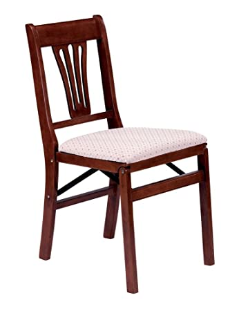 Urn Back Folding Chair in Warm Cherry Finish – Set of 2