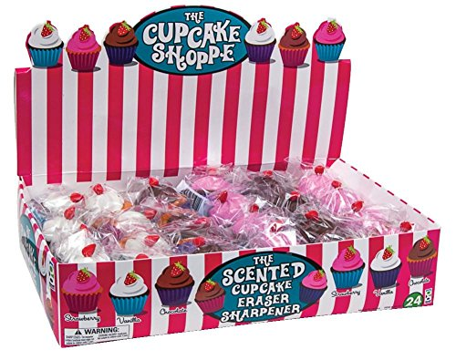 Raymond Geddes Cupcake Shoppe Scented Eraser and Sharpener, 24 Pack (69191)