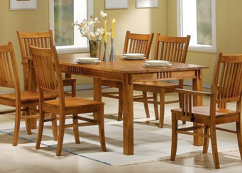 Coaster 100621 mission style dining table burnished oak for Mission style dining table