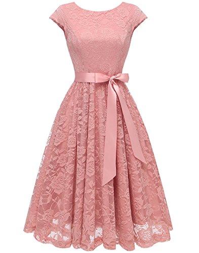(BeryLove Women's Floral Lace Short Bridesmaid Dress Cap Sleeve Cocktail Party Dress BLP7016Blush XL)