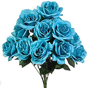 12 Open Long Stem Beautiful Turquoise Malibu Blue Roses Silk Wedding Flowers Bouquets 42