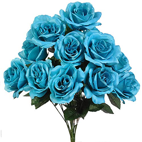 12 Open Long Stem Beautiful Turquoise Malibu Blue Roses Silk Wedding Flowers Bouquets