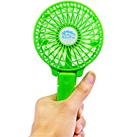 FIGROL Mini Portable and Handheld USB Fan,with Battery Recharge and Metal Clip,3speeds Adjustable(green)