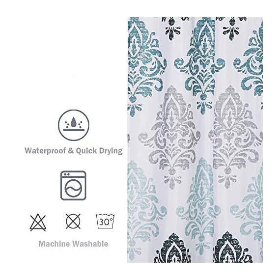 Uphome Fabric Shower Curtain Damask Print Ombre Design Boho Cloth Shower Curtains for Bathroom Ethnic Tribal, Heavy Weighted and Waterproof, 72 x 72 - [Durable Fabric] This fabric shower curtains crafted with premium fabric ensures long-lasting use. Classic Motif Boho design easy to update a luxury bathroom decor theme. [Raincoat Waterproof Technology] Raincoat waterproof technology making sure this is a water resistant bath curtain. It allowed water to easily glide off and resist soaking, work perfectly without a liner. [Weighted Hem] Uphome blue shower curtain customized with weighted hem than others holds up to daily use, keeps perfect drape and do not blow, offer you a cozily shower. - shower-curtains, bathroom-linens, bathroom - 518bFifvukL. SS570  -