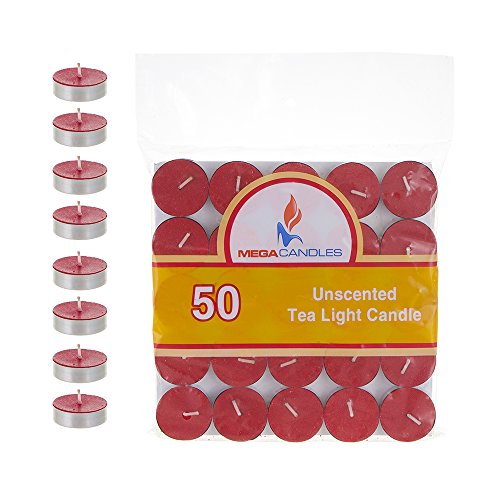 Mega Candles - Unscented Tea Light Candles - Red Set of 50 CGA082-R (Red Lights Tea)