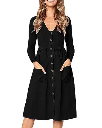 f06b86e1cc8 Meilidress Womens Long Sleeve Button Down Midi Dress V Neck Knee Length  Swing T Shirt Dresses