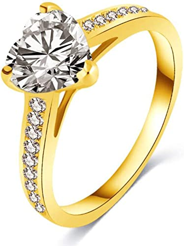 Pink CZ Heart Ring Solid 14k Yellow Gold Love Band Promise Ring Fashion Style