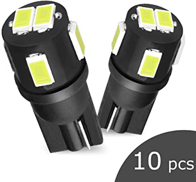 194 LED Bulb White,Super Bright 6000K 168 T10 2825 W5W Car Trunk Lamp Interior Dome Map Door Courtesy Lights, License Plate Marker Light Bulbs (Pack of 10)