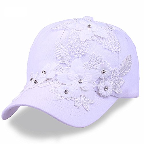 (Rhinestone Baseball Cap for Women Girls White Vintage Flower Bling Denim Hat(White))