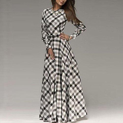 Froomer Women Empire Waist Dress Plaid Maxi Long Sleeve Party Gown Slim Dress