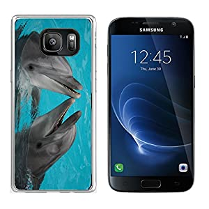 MSD Samsung Galaxy S7 Clear case Soft TPU Rubber Silicone Bumper Snap Cases IMAGE ID: 624765 funny bottle nosed dolphins dancing in the water