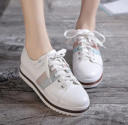 SHOWHOW Womens Casual Round Toe Low Top Heighten Mid Wedge Heel Platform Fashion Sneakers White 3 1Ntdf1z