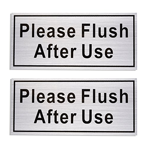 Metal Flush Sign - 2-Pack Please Flush After Use Signs, Self-Adhesive Aluminum Sign, Perfect for Restaurant, Cafes, Bars, Silver, 7.9 x 3.6 Inches