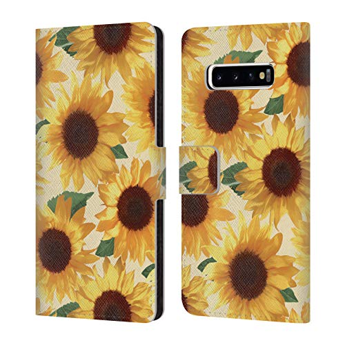 Official Micklyn Le Feuvre Big Happy Yellow Sunflowers Florals 4 Leather Book Wallet Case Cover Compatible for Samsung Galaxy S10+ / S10 Plus