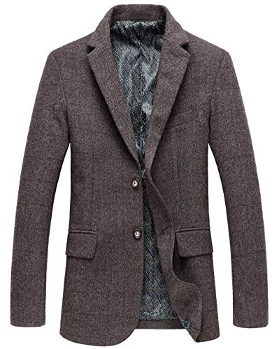chouyatou Men's Classic Plaid Two-Button Wool Blend Tailored Suit Separate Coat (Small, Coffee) ()