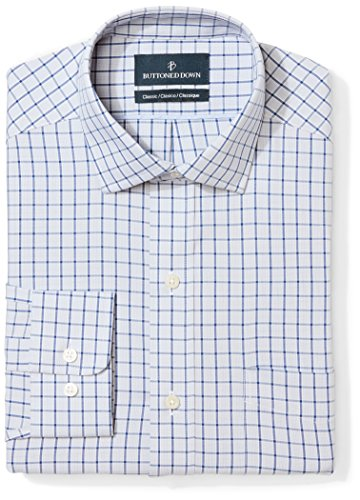 Blue Check Dress - BUTTONED DOWN Men's Classic Fit Spread Collar Pattern Non-Iron Dress Shirt, Grey/Blue Windowpane Check, 16.5